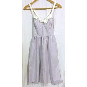 VTG 80s Lilac White Pinstripe Easter Dress Cross